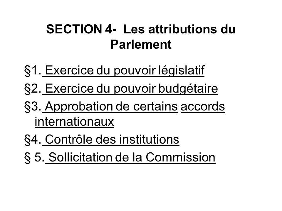 SECTION 4- Les attributions du Parlement
