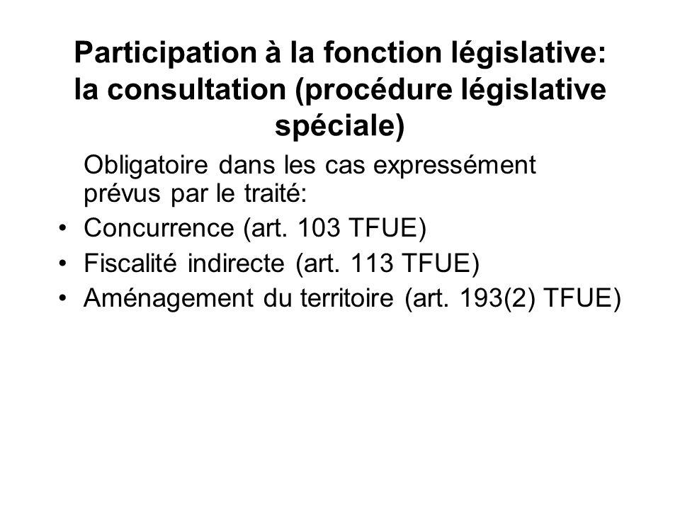 Participation à la fonction législative: la consultation (procédure législative spéciale)