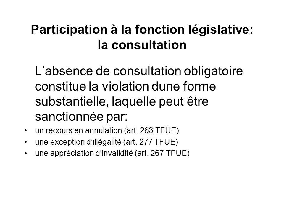 Participation à la fonction législative: la consultation