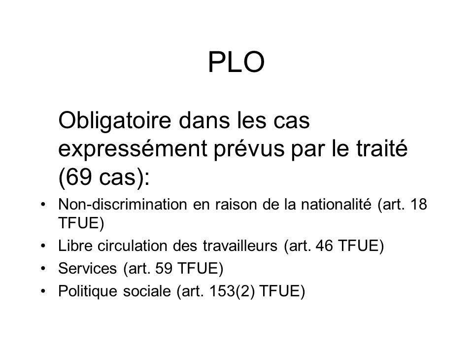 PLO Obligatoire dans les cas expressément prévus par le traité (69 cas): Non-discrimination en raison de la nationalité (art. 18 TFUE)