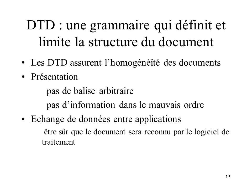 DTD : une grammaire qui définit et limite la structure du document