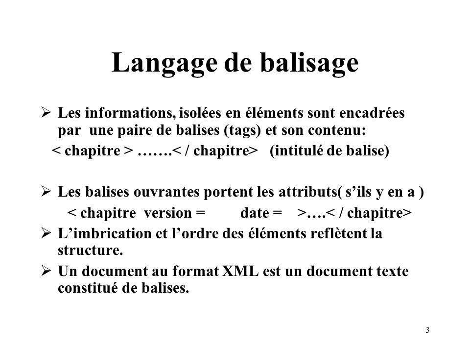 Langage de balisage Les informations, isolées en éléments sont encadrées par une paire de balises (tags) et son contenu: