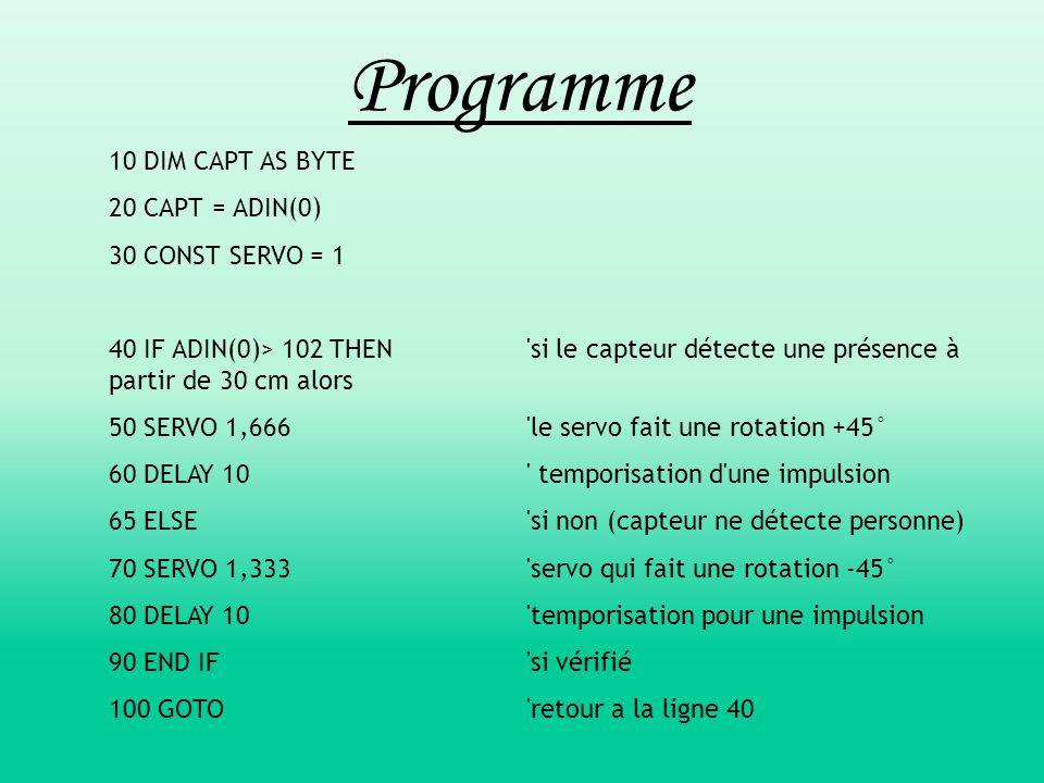Programme 10 DIM CAPT AS BYTE 20 CAPT = ADIN(0) 30 CONST SERVO = 1