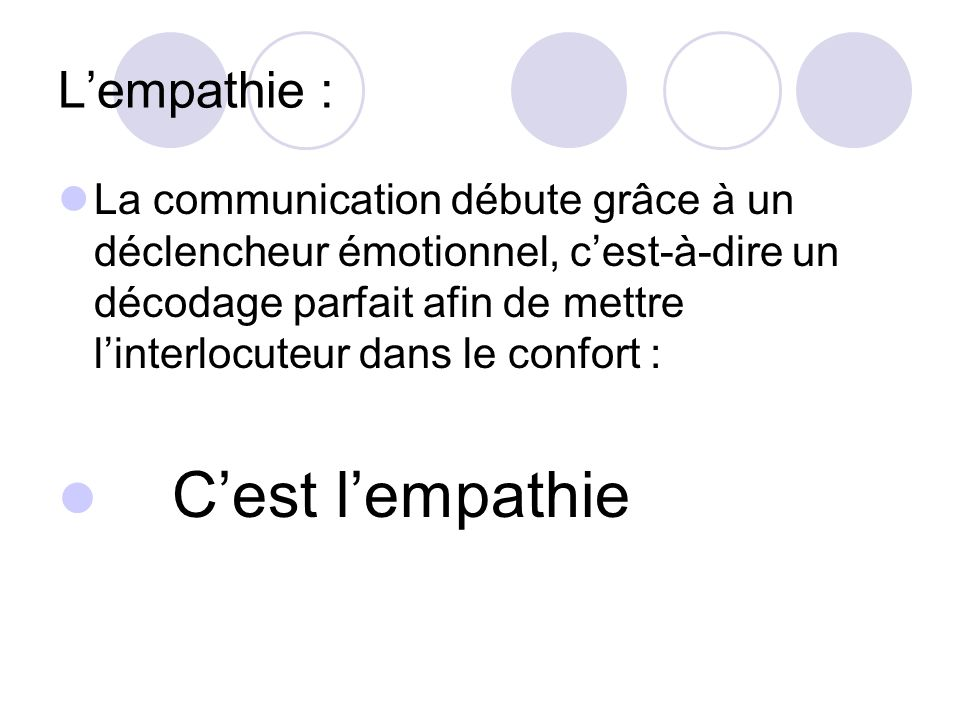 C'est l'empathie L'empathie :