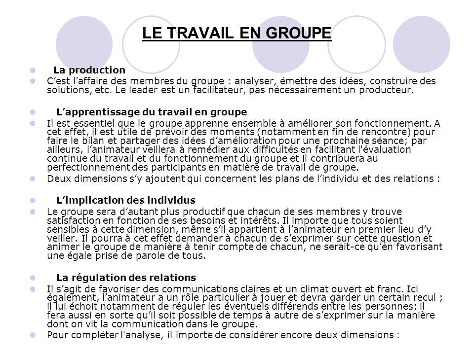 LE TRAVAIL EN GROUPE La production