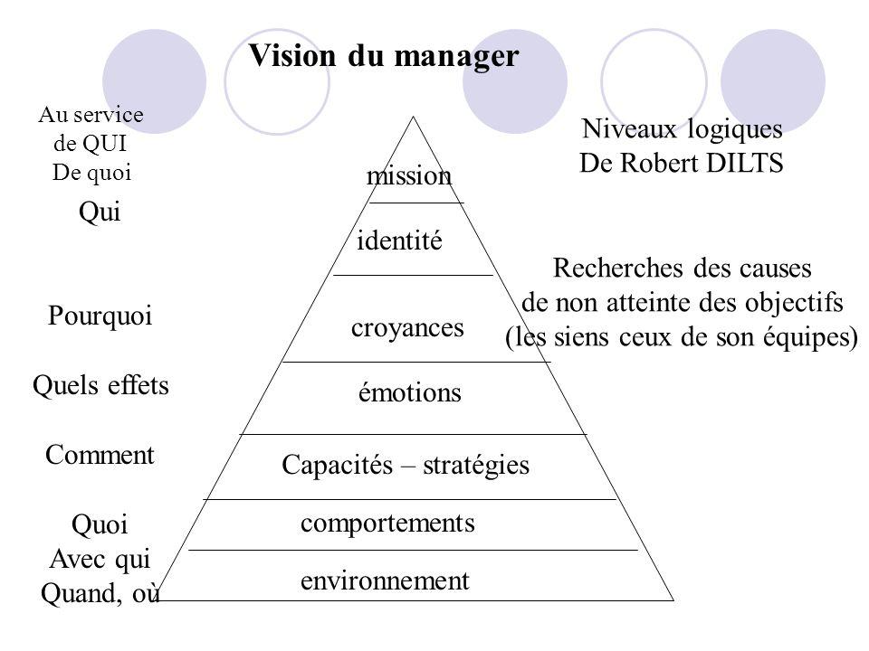 Vision du manager Niveaux logiques De Robert DILTS mission