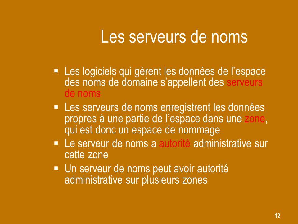 Les serveurs de noms Les logiciels qui gèrent les données de l'espace des noms de domaine s'appellent des serveurs de noms.