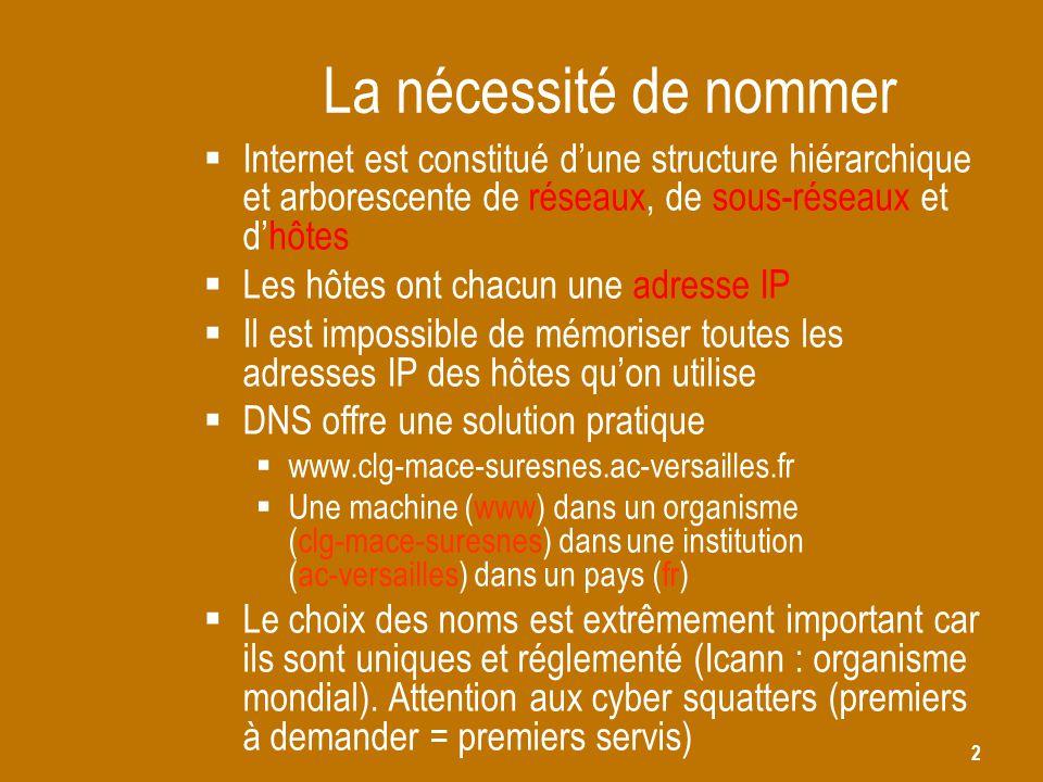 La nécessité de nommer Internet est constitué d'une structure hiérarchique et arborescente de réseaux, de sous-réseaux et d'hôtes.