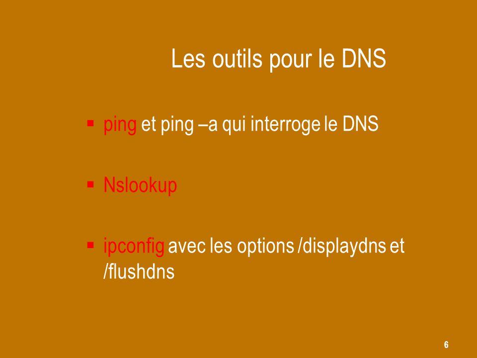 Les outils pour le DNS ping et ping –a qui interroge le DNS Nslookup