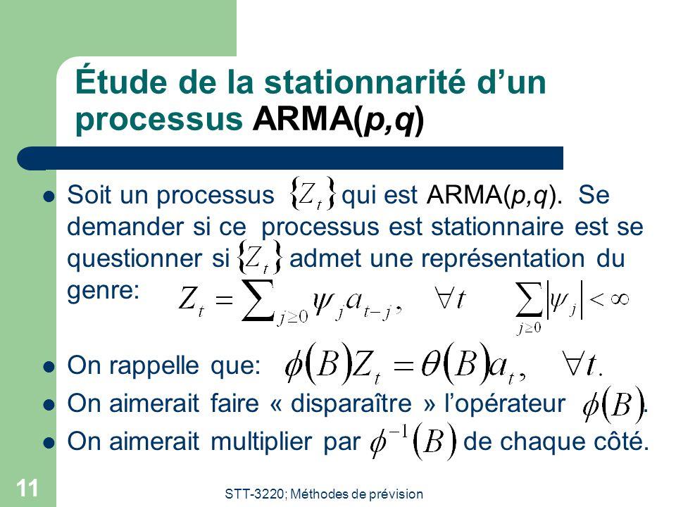 Étude de la stationnarité d'un processus ARMA(p,q)