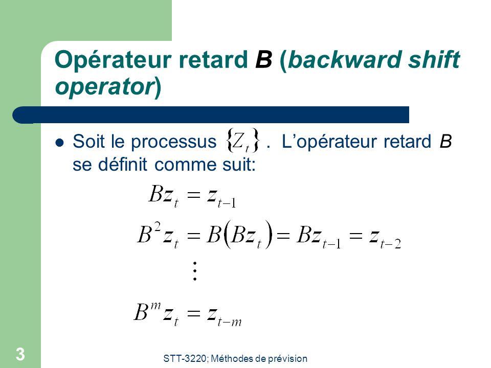Opérateur retard B (backward shift operator)
