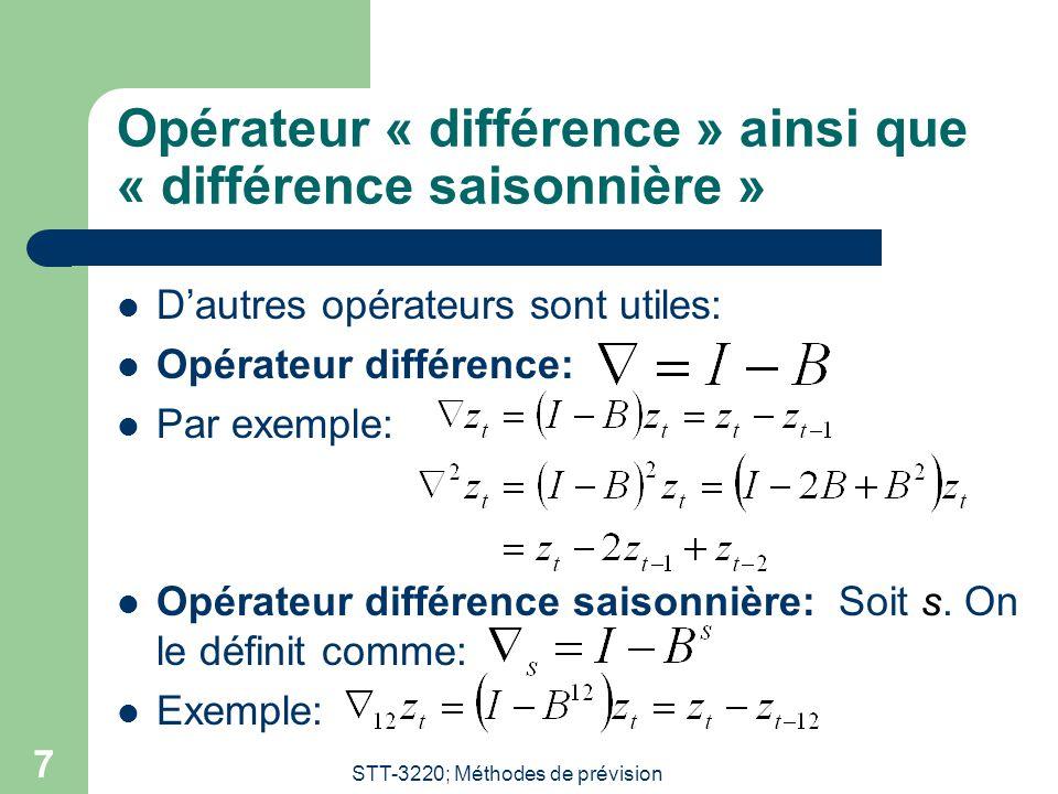 Opérateur « différence » ainsi que « différence saisonnière »