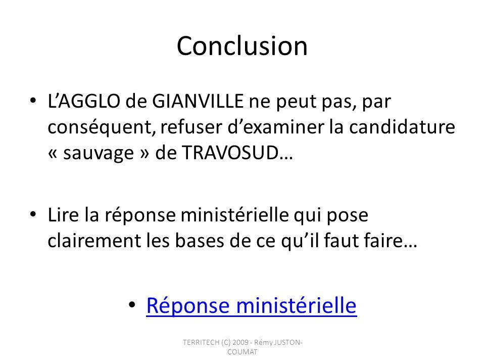 Conclusion Réponse ministérielle