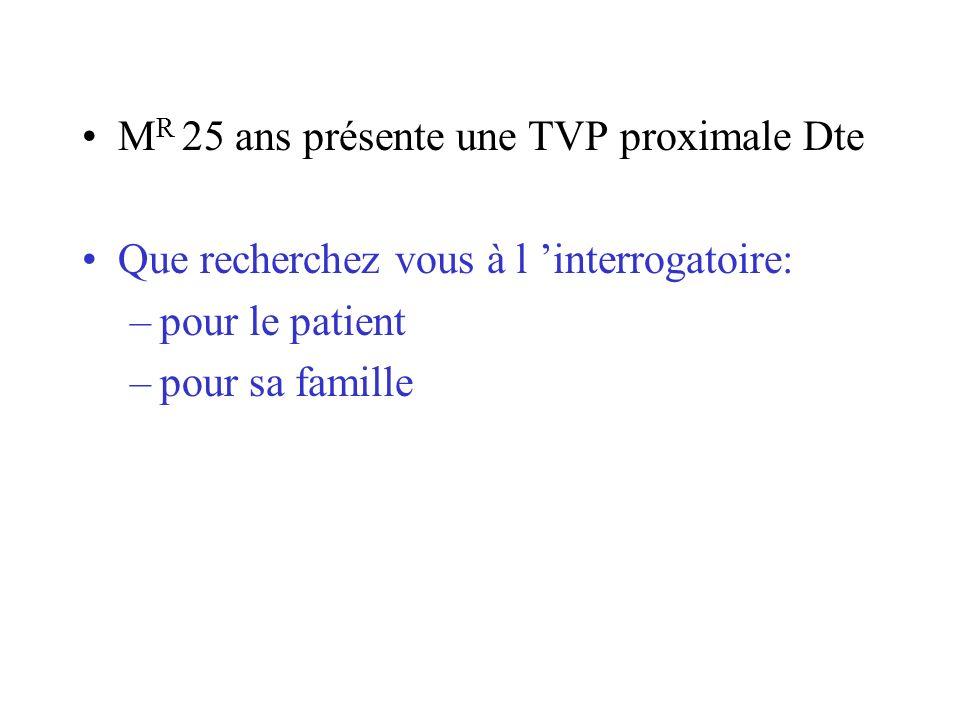 MR 25 ans présente une TVP proximale Dte