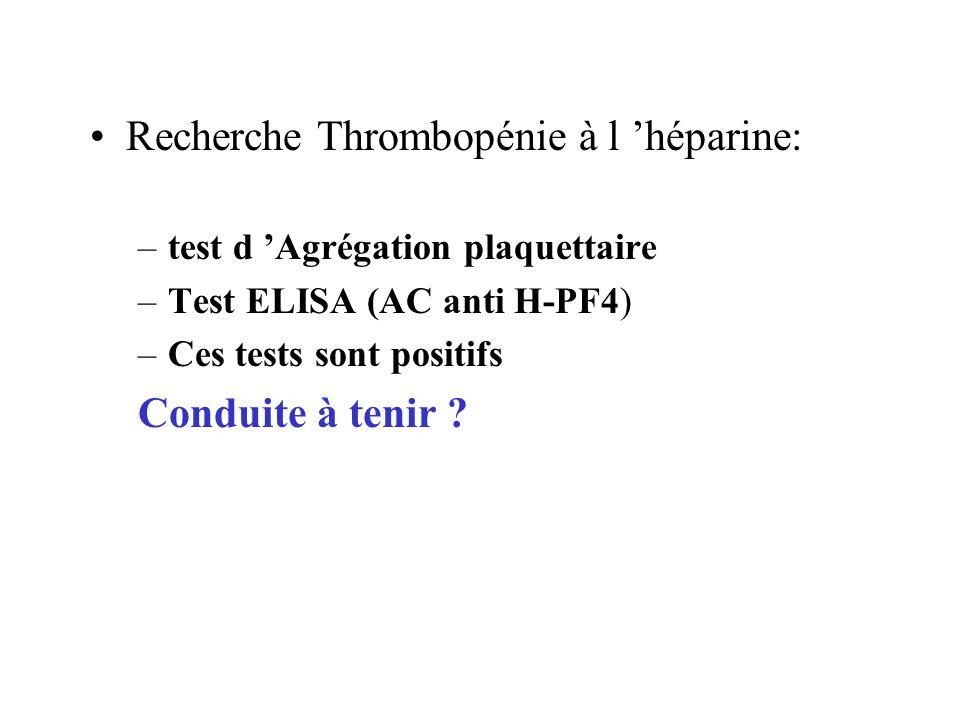 Recherche Thrombopénie à l 'héparine: