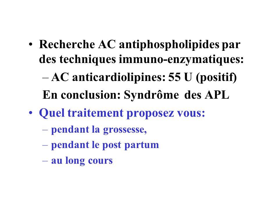 AC anticardiolipines: 55 U (positif) En conclusion: Syndrôme des APL