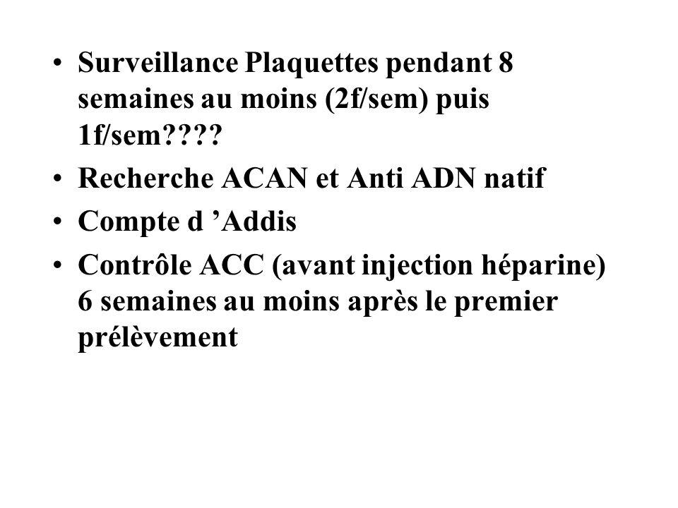 Surveillance Plaquettes pendant 8 semaines au moins (2f/sem) puis 1f/sem