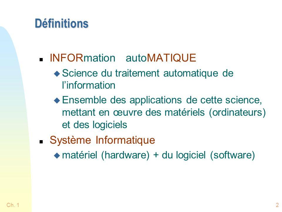 Définitions INFORmation autoMATIQUE Système Informatique