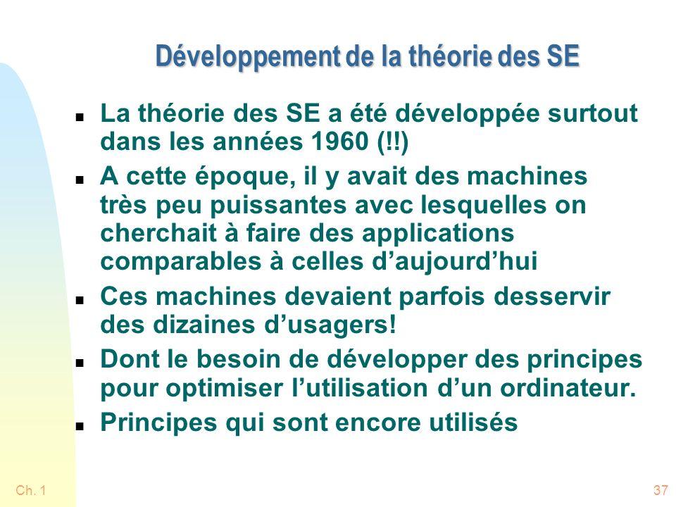 Développement de la théorie des SE