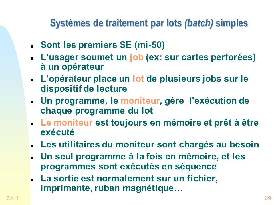 Systèmes de traitement par lots (batch) simples