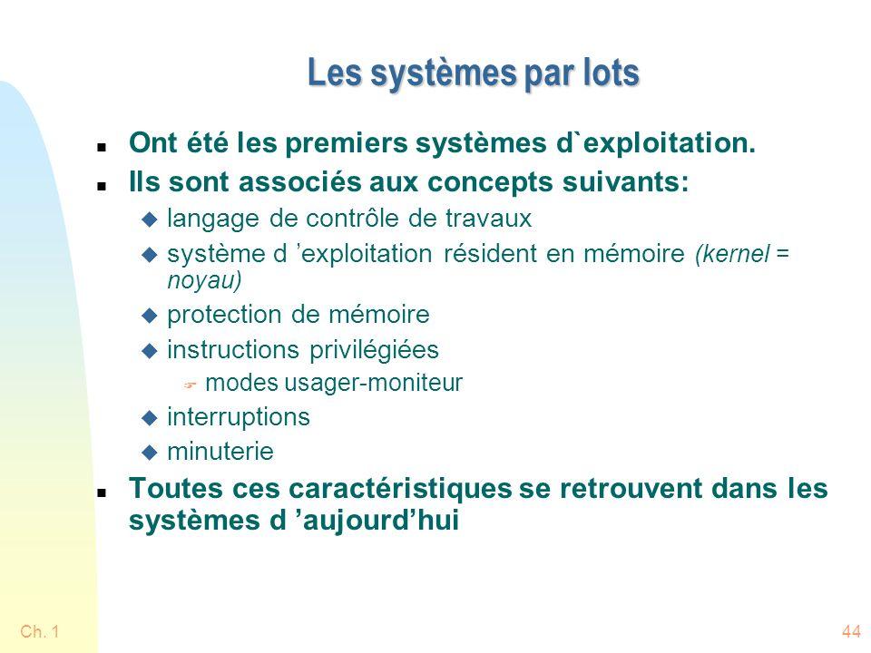 Les systèmes par lots Ont été les premiers systèmes d`exploitation.