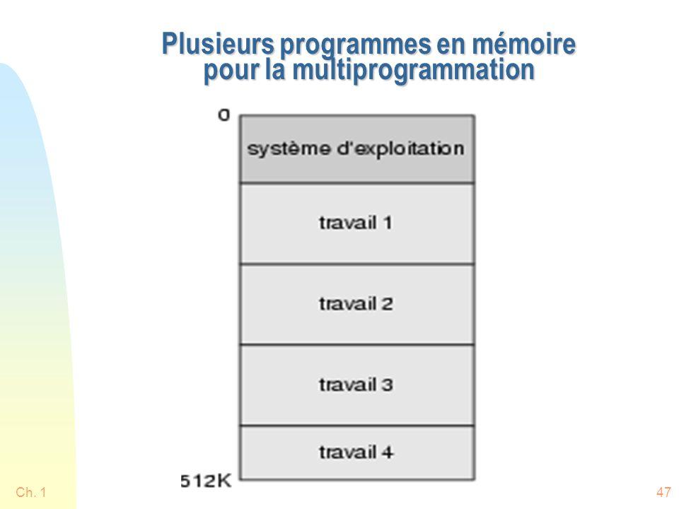 Plusieurs programmes en mémoire pour la multiprogrammation