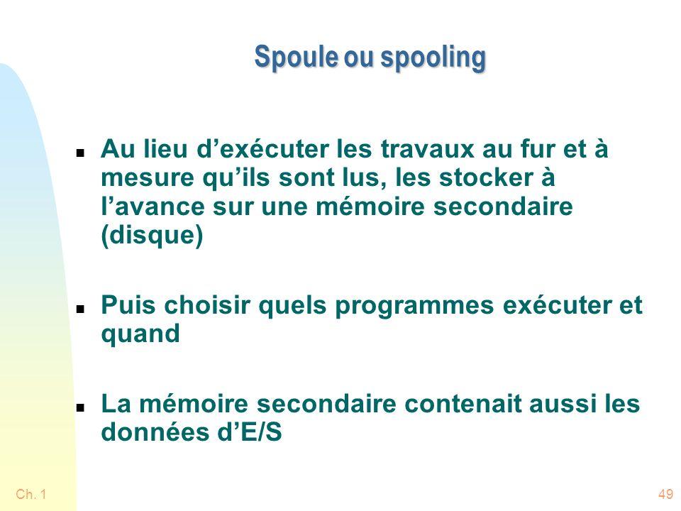 Spoule ou spooling Au lieu d'exécuter les travaux au fur et à mesure qu'ils sont lus, les stocker à l'avance sur une mémoire secondaire (disque)