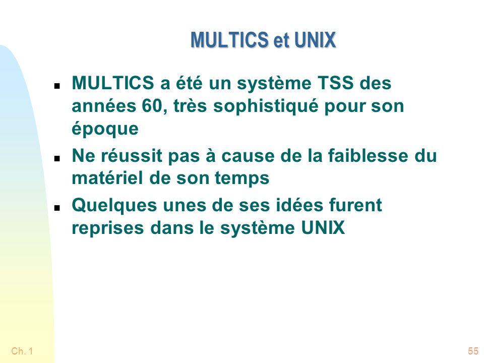 MULTICS et UNIX MULTICS a été un système TSS des années 60, très sophistiqué pour son époque.