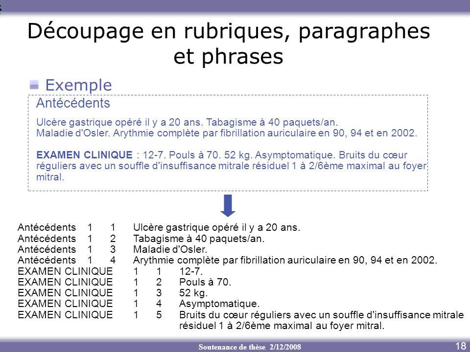 Découpage en rubriques, paragraphes et phrases