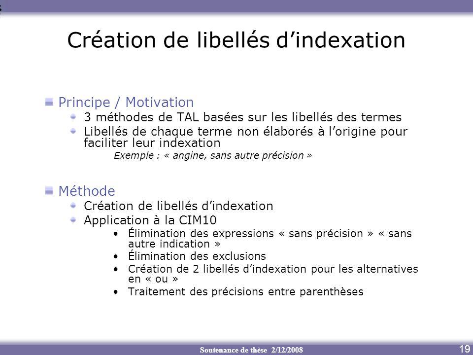 Création de libellés d'indexation