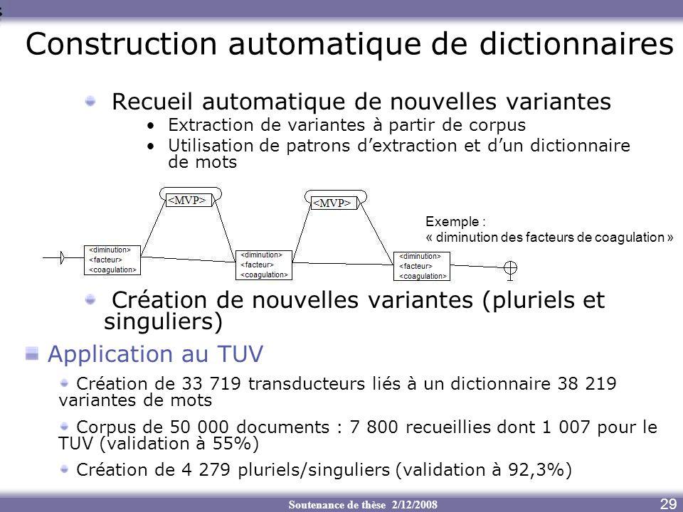 Construction automatique de dictionnaires