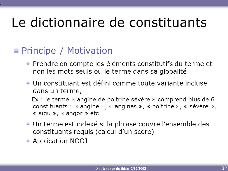 Le dictionnaire de constituants
