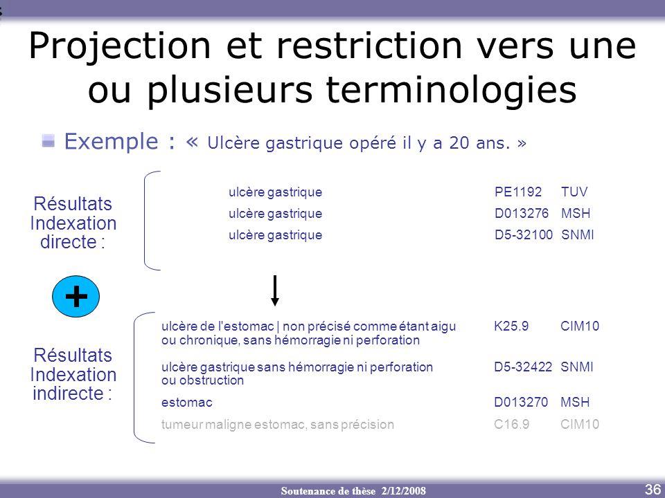 Projection et restriction vers une ou plusieurs terminologies