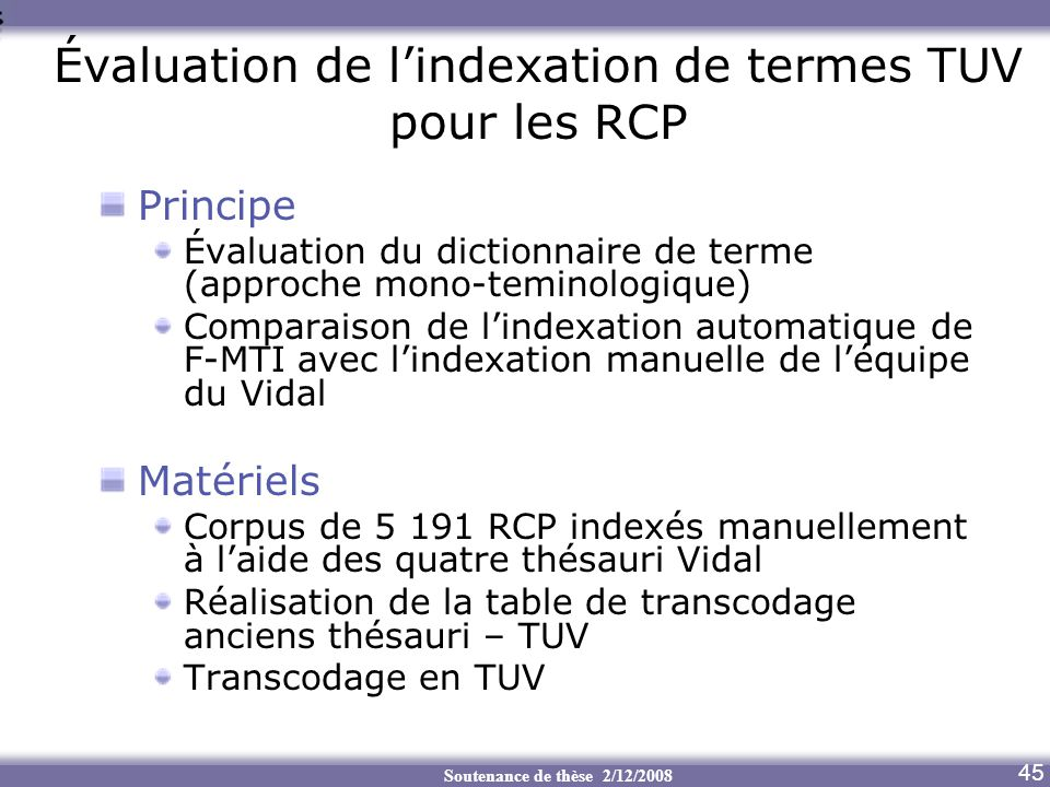 Évaluation de l'indexation de termes TUV pour les RCP