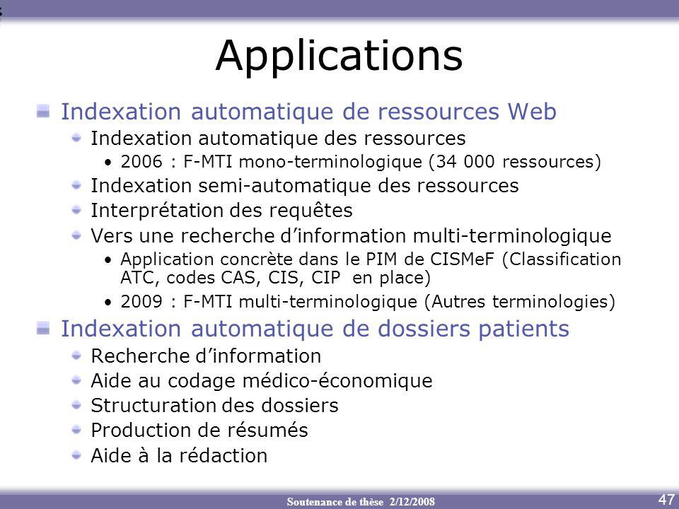 Applications Indexation automatique de ressources Web