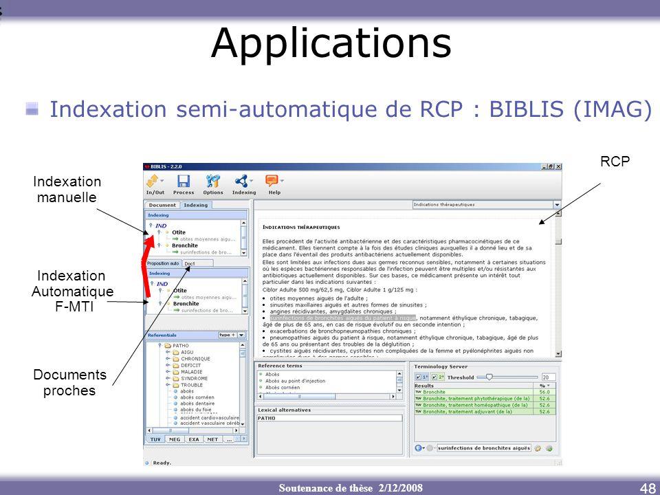 Applications Indexation semi-automatique de RCP : BIBLIS (IMAG) RCP