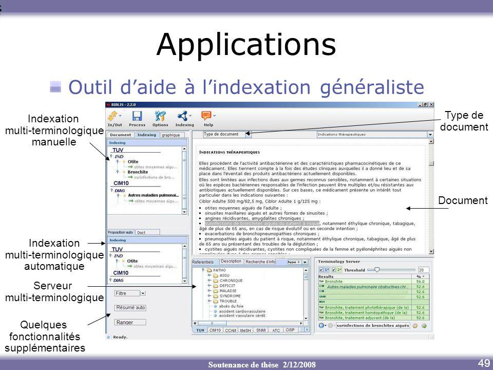 Applications Outil d'aide à l'indexation généraliste Type de