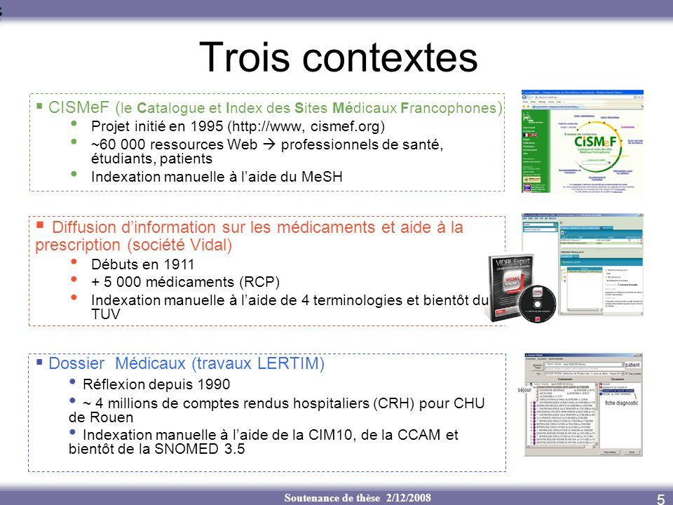 Trois contextes CISMeF (le Catalogue et Index des Sites Médicaux Francophones) Projet initié en 1995 (http://www, cismef.org)