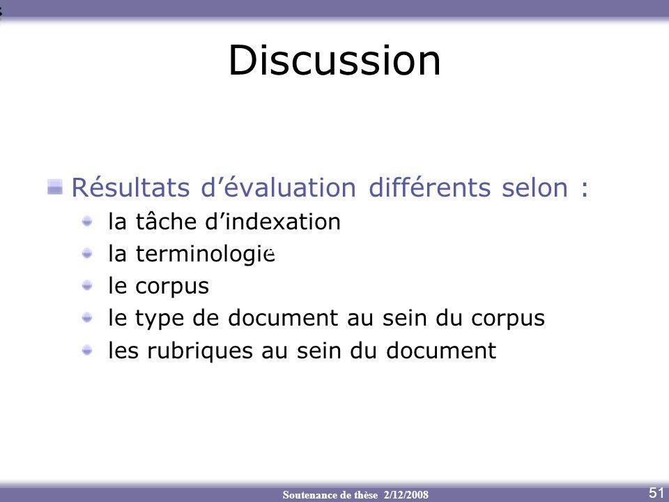 Discussion Résultats d'évaluation différents selon :
