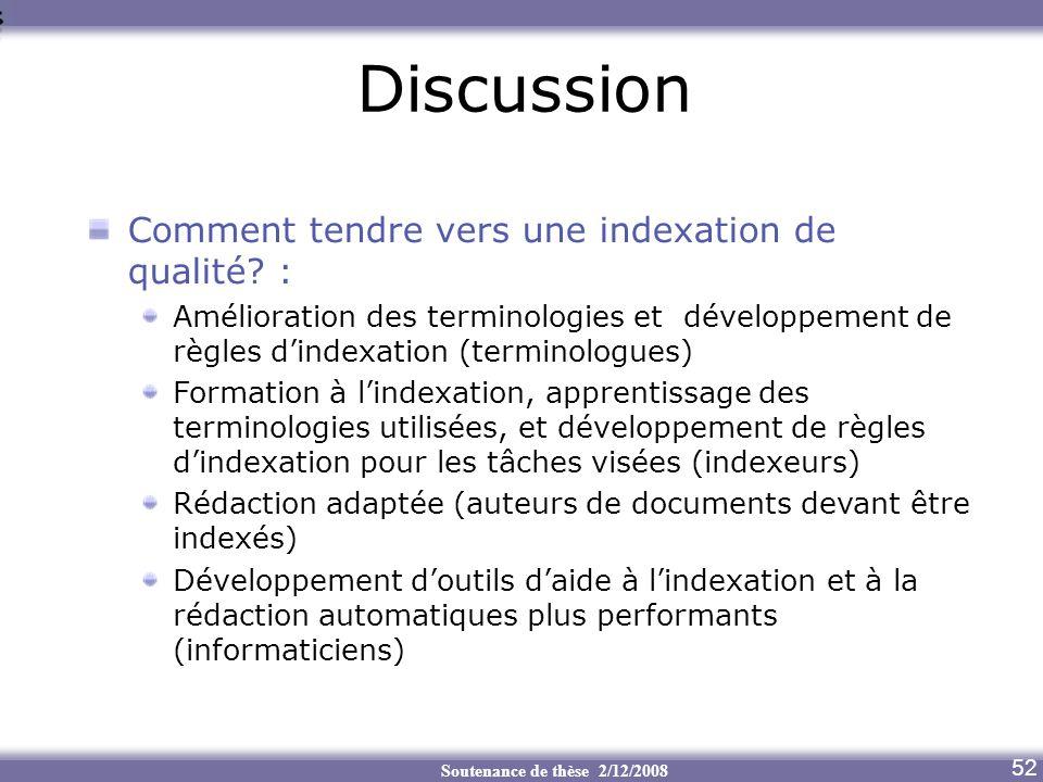 Discussion Comment tendre vers une indexation de qualité :