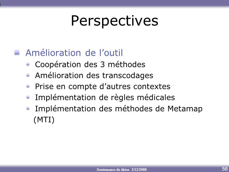 Perspectives Amélioration de l'outil Coopération des 3 méthodes
