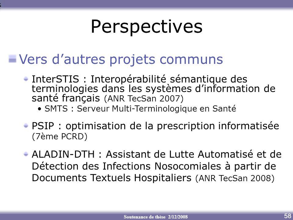 Perspectives Vers d'autres projets communs