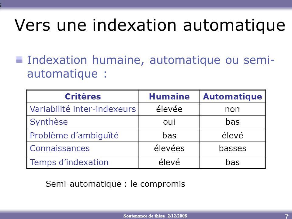 Vers une indexation automatique