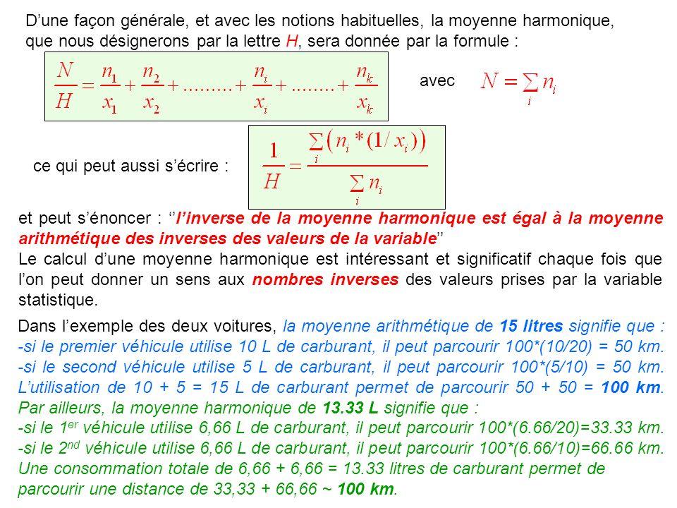 D'une façon générale, et avec les notions habituelles, la moyenne harmonique, que nous désignerons par la lettre H, sera donnée par la formule :