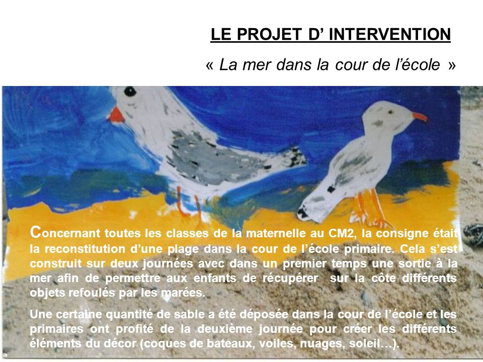 LE PROJET D' INTERVENTION