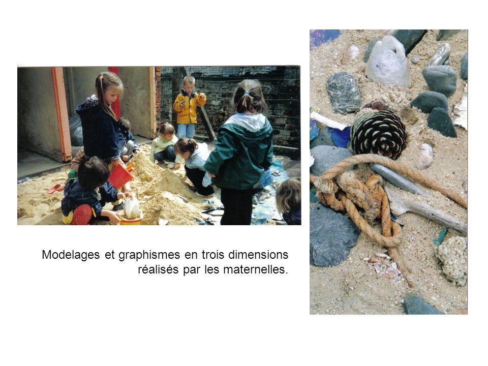 Modelages et graphismes en trois dimensions réalisés par les maternelles.