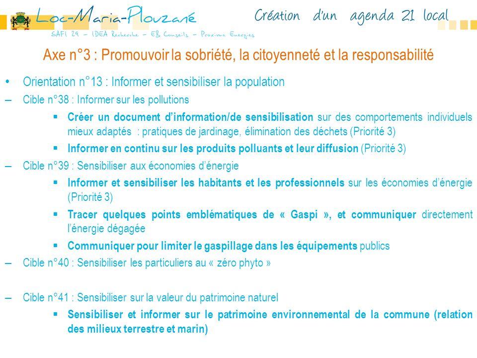Axe n°3 : Promouvoir la sobriété, la citoyenneté et la responsabilité