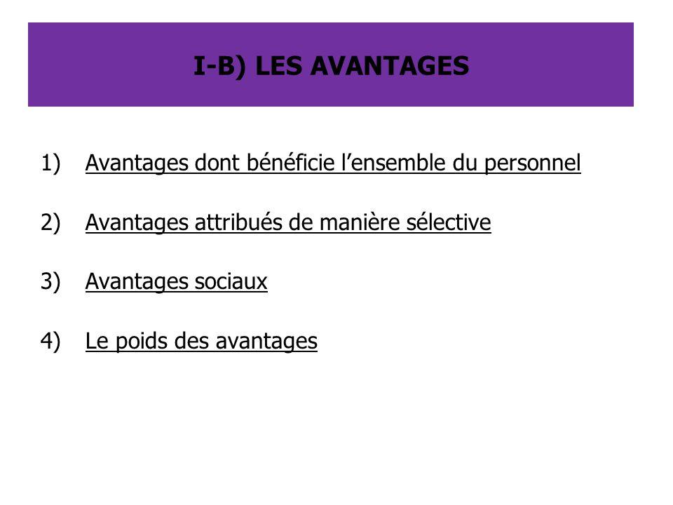 I-B) LES AVANTAGES Avantages dont bénéficie l'ensemble du personnel