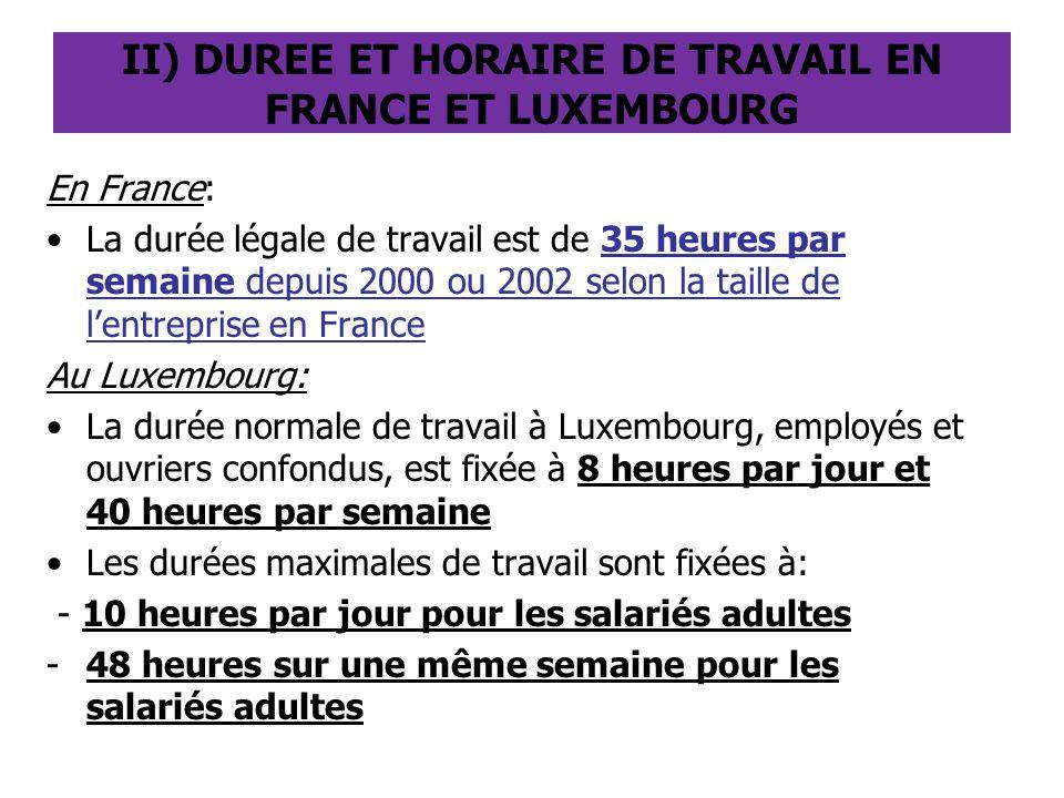 II) DUREE ET HORAIRE DE TRAVAIL EN FRANCE ET LUXEMBOURG
