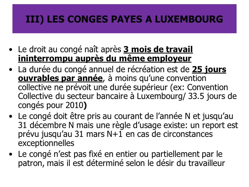 III) LES CONGES PAYES A LUXEMBOURG